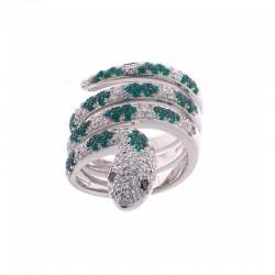 Anillo de oro de 18 quilates en forma de serpiente con diamantes y esmeraldas