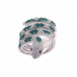 Snake-shaped 18K Gold Ring with Diamonds and Emeralds