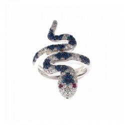 Anillo de oro de 18K en forma de serpiente, con diamantes, zafiros, rubíes