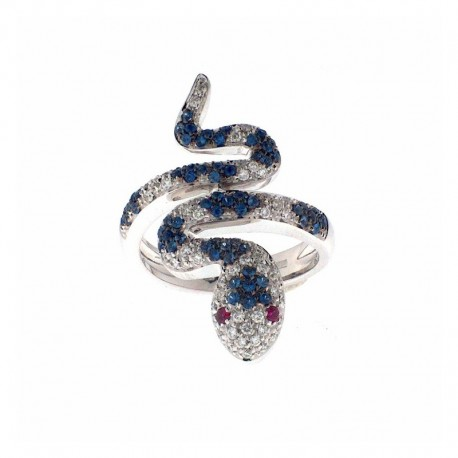 18K gold ring in the shape of snakes, with diamonds, sapphires, rubies