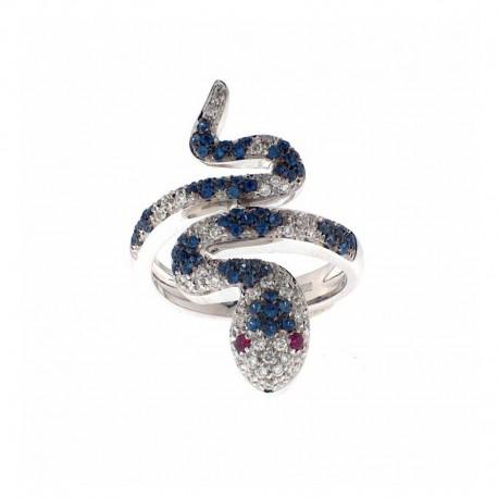 Ring aus 18K Gold in Form einer Schlange, mit Diamanten, Saphiren, Rubinen