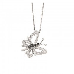 Butterfly necklace in gold with white and black diamonds