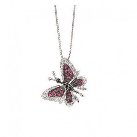 Collar de mariposa de oro con diamantes y rubíes blancos y negros