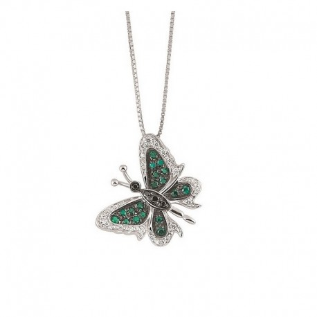 Gold butterfly necklace with white and black diamonds and emeralds