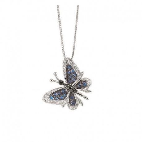 Collar de mariposa de oro con diamantes blancos y negros y zafiros