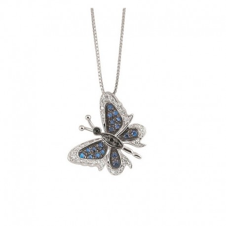 Collier papillon en or avec diamants blancs et noirs et saphirs