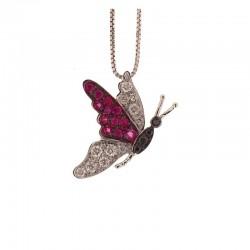 Goldenes Schmetterlingshalsband mit weißen und schwarzen Diamanten und Rubinen