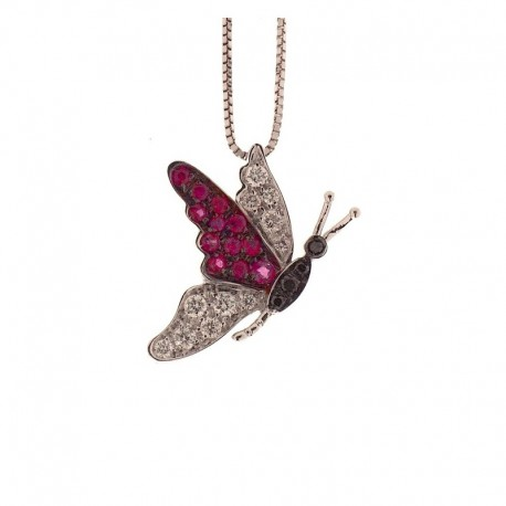 Gold butterfly necklace with white and black diamonds and rubies