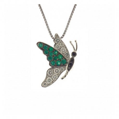 Collier papillon en or avec diamants blancs et noirs et émeraudes