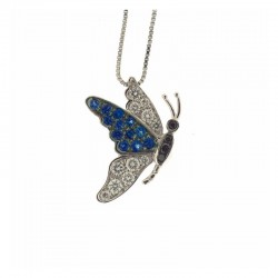 Gold butterfly necklace with white and black diamonds and sapphires