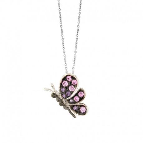 Pendentif papillon en argent 925 et zircone cubique avec une chaîne de 42 cm