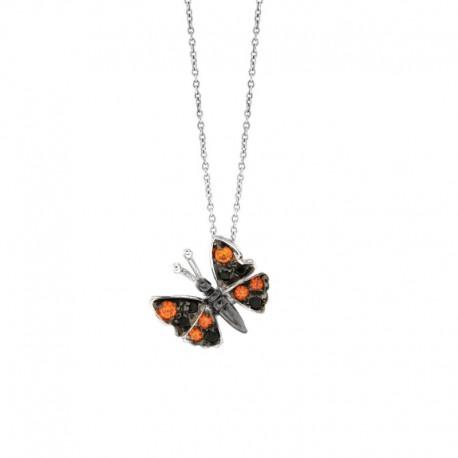 Colgante de mariposa en plata 925 y circonio cúbico con una cadena de 42 cm.