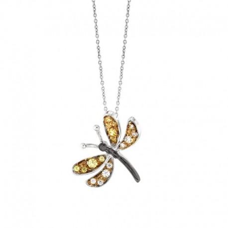 Pendentif libellule en argent 925 et zircone cubique avec une chaîne de 42 cm