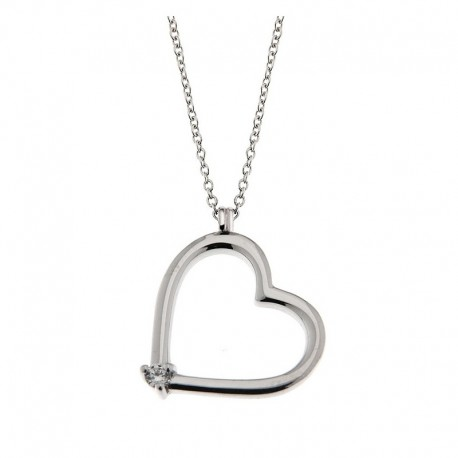 Necklace and Heart in silver 925 and cubic zirconia Venetian chain 42 cm