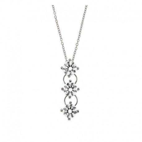 Collar de plata 925 y circonia cúbica Cadena veneciana 42 cm