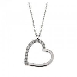 Collar y Corazón en plata 925 y circonia cúbica Cadena veneciana 42 cm