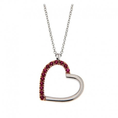 Halskette und Herz aus Silber 925 und Kubikzirkonia Venezianische Kette 42 cm