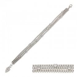 Brazalete de plata esterlina y circonia cúbica - 18 cm