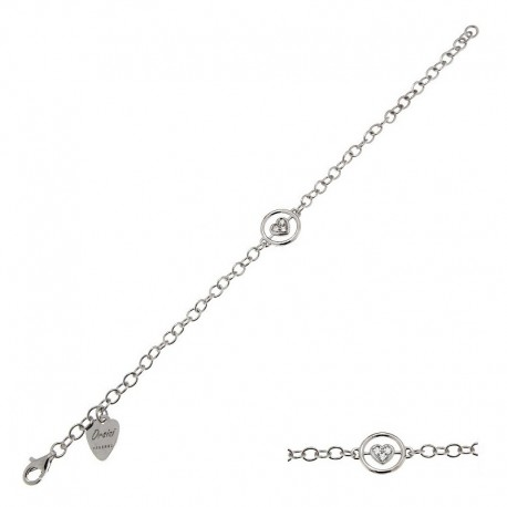925 Sterling Silver and Cubic Zirconia Bracelet - 18 cm