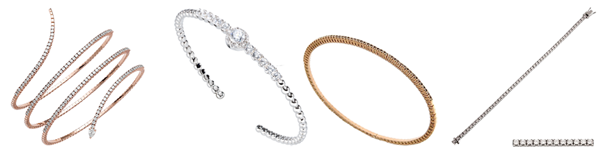 Pulseras de oro y diamantes